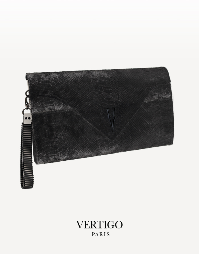 sac zebrule cuir python noir